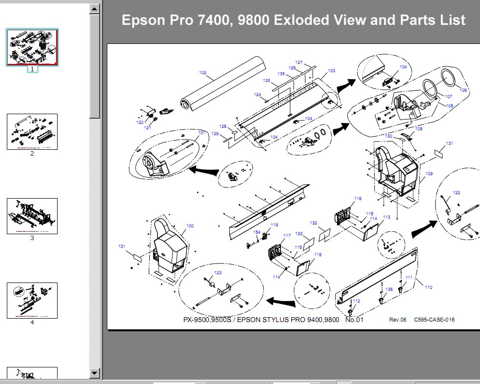 Epson Pro 7400, 9800 Exloded View and Parts List