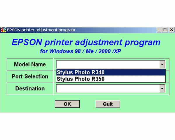 Epson R340, R350 Version 13 Service Program