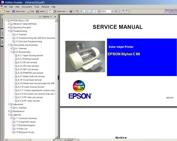 Epson C60 printer Service Manual and Parts List