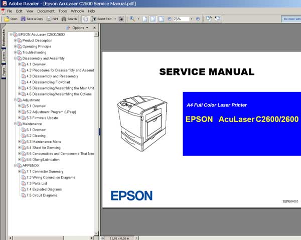 Epson AcuLaser Color C2600 Printer<br> Service Manual and Parts List