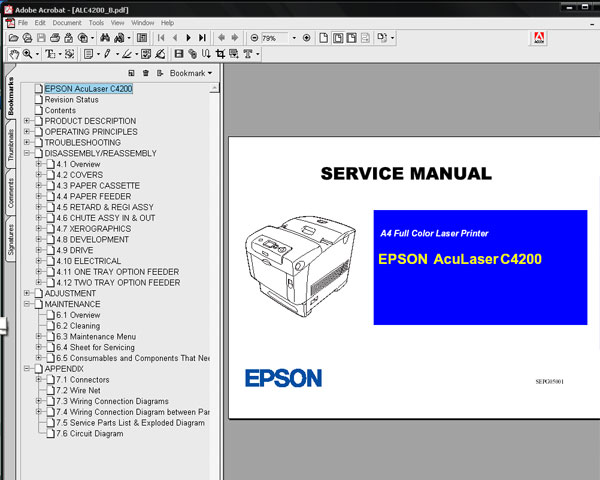 Epson AcuLaser C4200 (ALC4200) Printer<br> Service Manual and Parts List