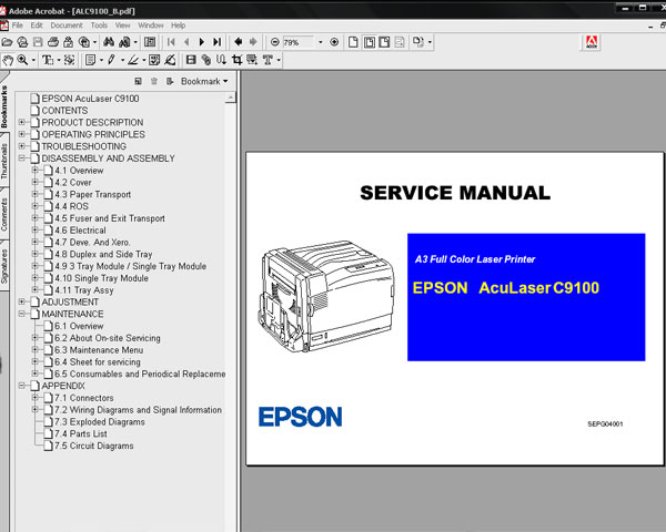 Epson AcuLaser C9100 (ALC9100) Printer<br> Service Manual and Parts List