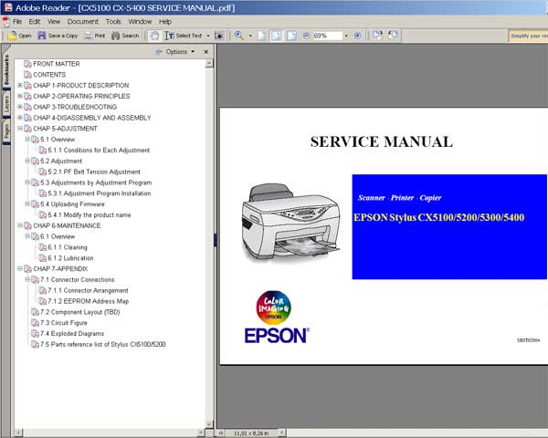 Epson CX5100, CX5200, CX5300, CX5400 Service Manual and Parts List