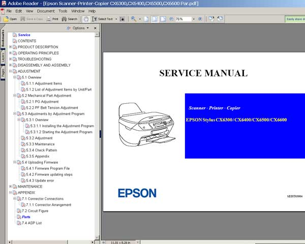 Epson CX6300, CX6400, CX6500, CX6600 Service Manual and Parts List