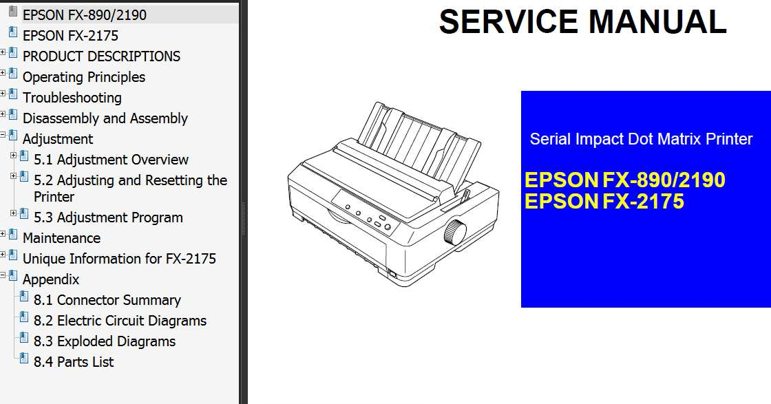 Epson FX-890, FX-2175, FX-2190 Printer Service Manual and FX890, FX2175, FX2190 Parts List
