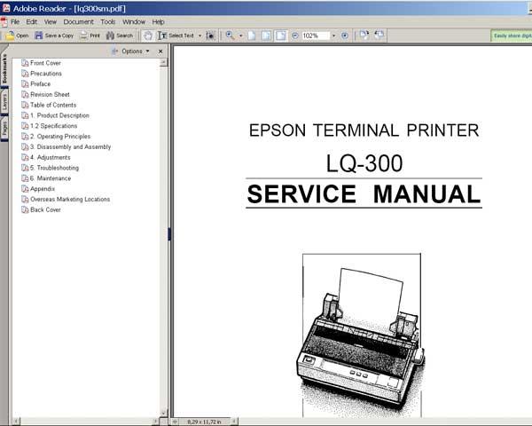 epson lq 300 printer service manual service manuals. Black Bedroom Furniture Sets. Home Design Ideas