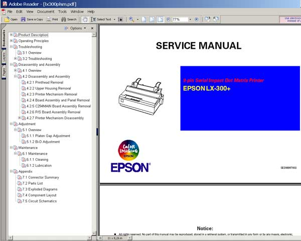Epson LX-300+ <br> Service Manual