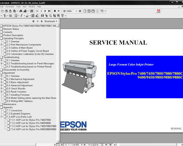 Epson Pro 7400, 7450, 7800, 7880, 7880C, 9400, 9450, 9800, 9880, 9880C printers Service Manual and Parts List <font color=red>New!</font>