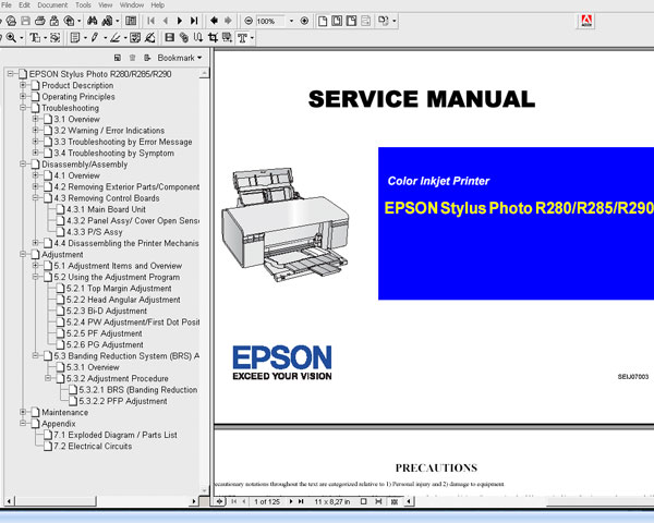 Epson R280, R285, R290, R295 printers Service Manual and Parts List