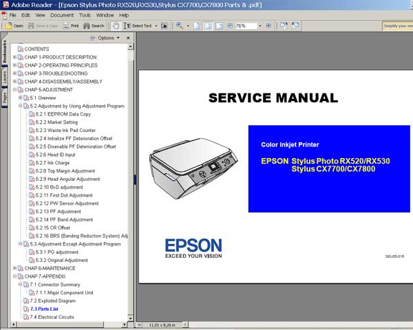 Epson RX520, RX530, CX7700, CX7800 Service Manual and Parts List