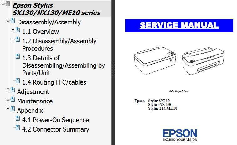 Epson <b>SX130, NX130, T13, ME10</b>  printers Service Manual  <font color=red>New!</font>