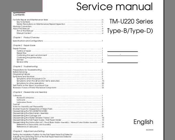 Epson TM-U220 Technical Reference Guide <font color=red>New!</font>