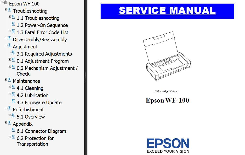 Epson <b>WorkForce WF-100 </b> printers Service Manual  <font color=red>New!</font>