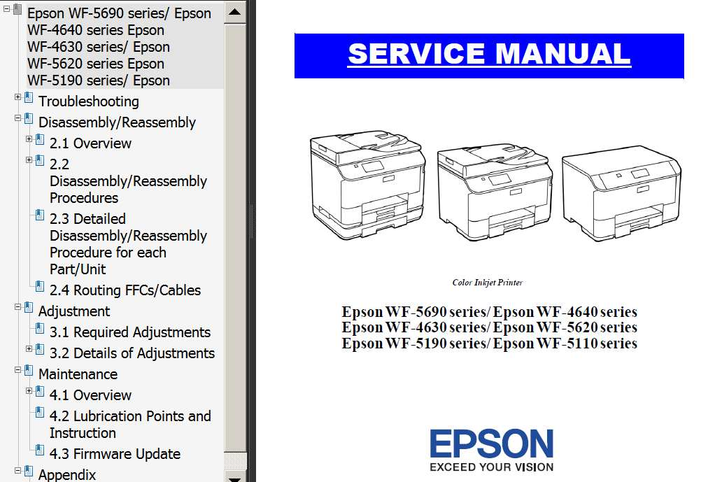 Epson <b>WF-4630 series, WF-4640 series, WF-5110 series, WF-5190 series, WF-5620 series, WF-5690 series</b> printers Service Manual  <font color=red>New!</font>