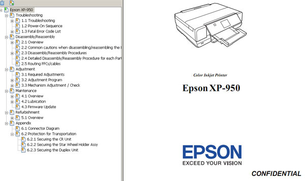 Epson <b>XP-950</b> printers Service Manual  <font color=orange>New!</font>