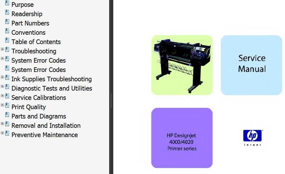 HP Designjet 4000 Series, 4020 Series Printers Service