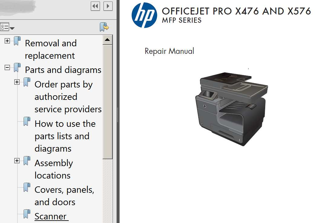 HP OfficeJet Pro X476, OfficeJet Pro X576 Repair Manual,  Parts List and Diagrams