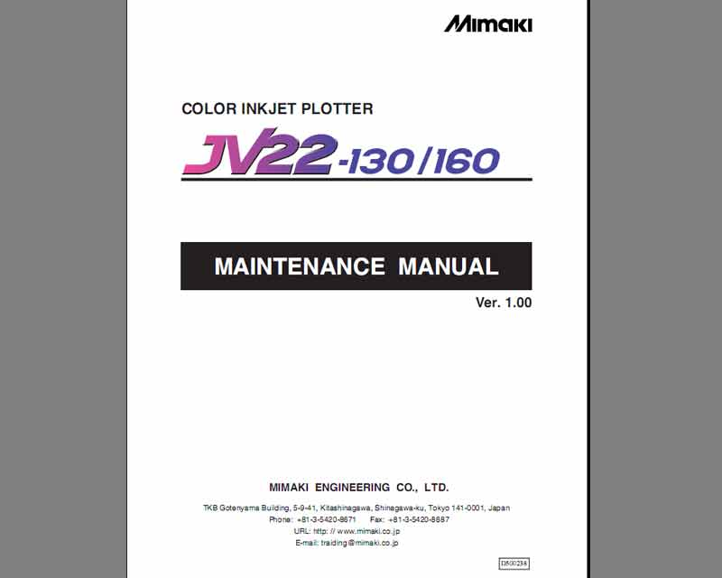 Mimaki JV22-130/60 Maintenace Manual