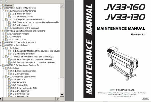 Mimaki JV33-130, JV33-160 Maintenace Manual - Service