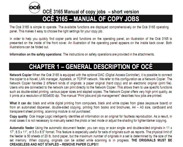 OCE 3165 Manual pf copy jobs (short version) free