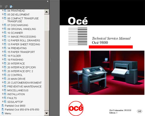 OCE 9800 Technical Service Manual and Parts List
