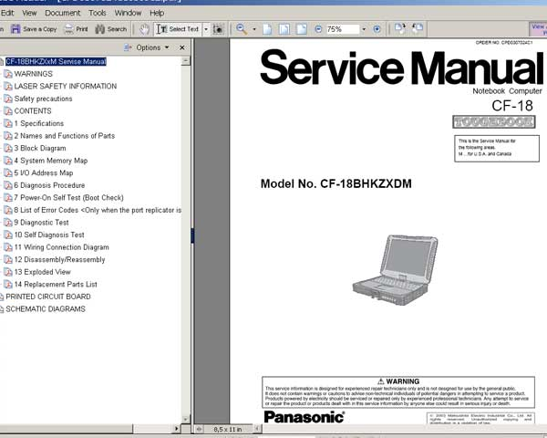 Panasonic TOUGHBOOK CF18 Notebook Computer CF-18 <br>Service Manual, Circuit Diagram and Parts Replacement List  <br> <font color=red>New!</font>