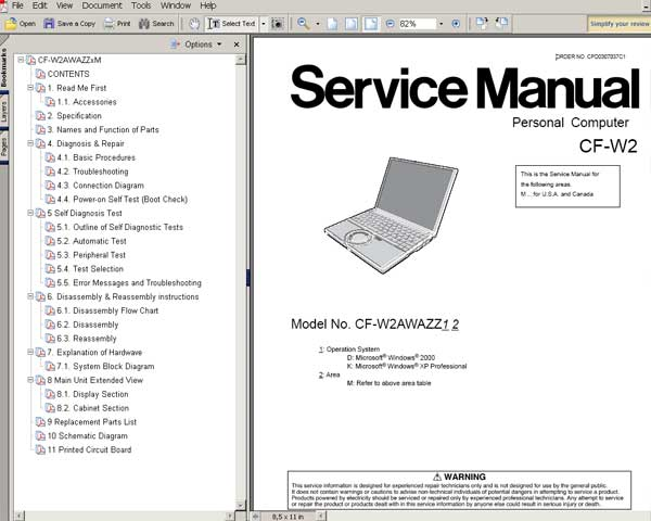 Panasonic TOUGHBOOK CFW2 Notebook Computer CF-W2 <br>Service Manual, Circuit Diagram and Parts Replacement List  <br> <font color=red>New!</font>
