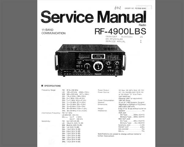Panasonic RF-4900 / DR-49 shortwave receiver<br>Service Manual and Circuit Diagram<br> <font color=red>New!</font>