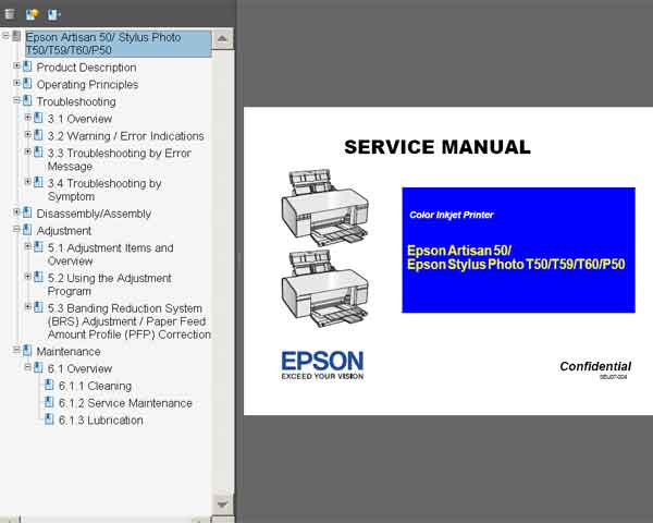 Epson Photo T50, T59, T60, P50, Artisan 50 printers Service Manual  <font color=red>New!</font>
