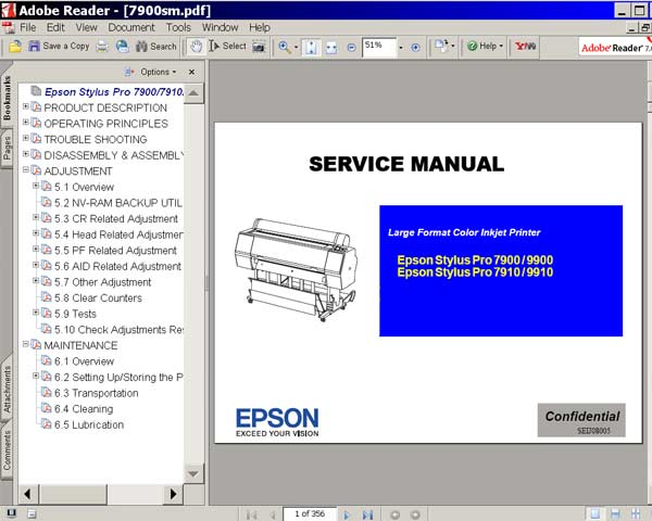 Epson Stylus Pro 7900, 7910, 9900, 9910 printers Service Manual    <font color=red>New!</font>
