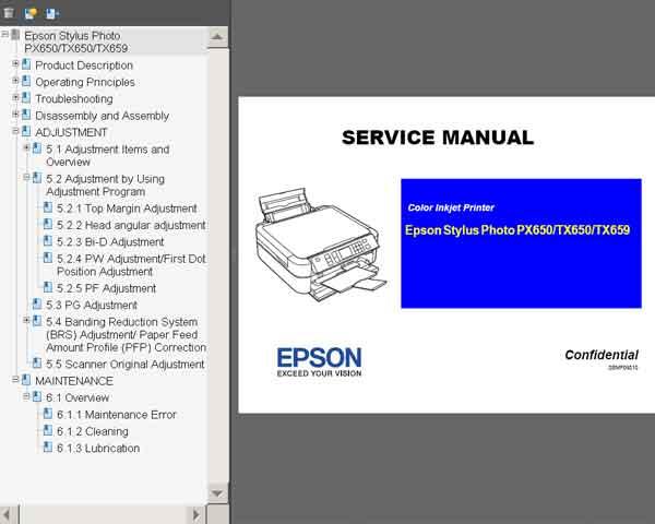 Epson Stylus Tx650  Tx659  Px650 Printers Service Manual