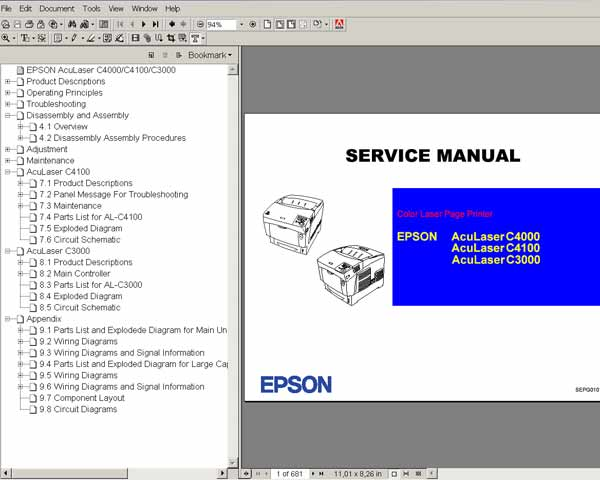 Epson AcuLaser C3000, C4000, C4100 Color Laser Printers<br> Service Manual and Parts List
