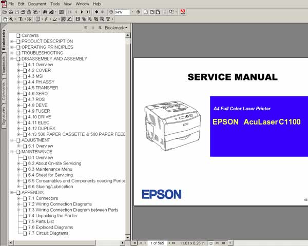 Epson AcuLaser C1100 Color Laser Printer<br> Service Manual and Parts List