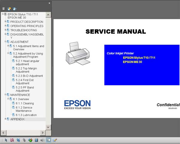 Epson T10, T11, ME30 Printers Service Manual <font color=red>New!</font>