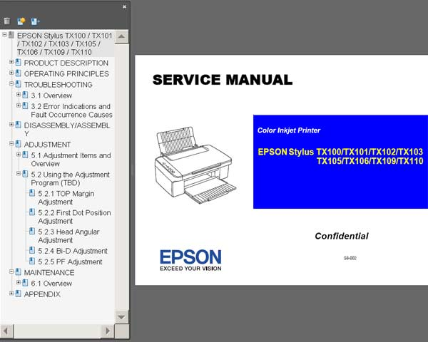 Epson STYLUS TX100, TX101, TX102, TX103, TX105, TX106, TX109, TX110 printers Service Manual <br><font color=red>New!</font>
