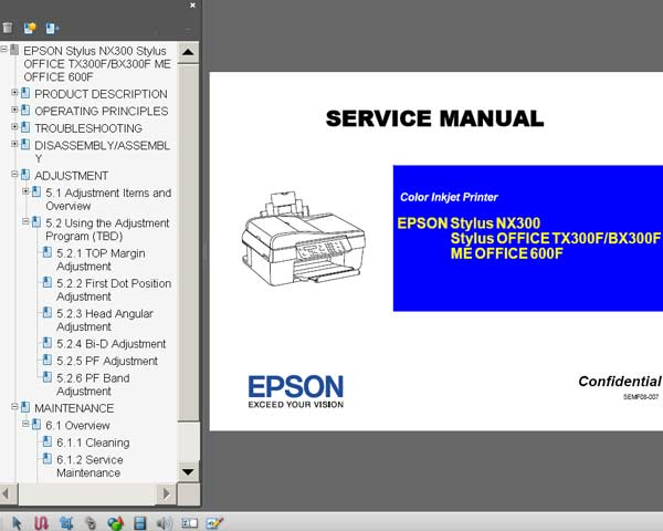 Epson TX300F, BX300F, ME Office 600F, NX300 printers Service Manual  <font color=red>New!</font>