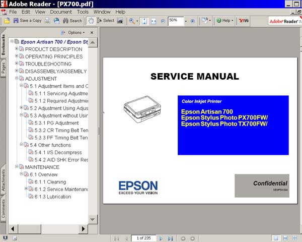 Epson Artisan 710, TX710FW, PX710FW, Artisan 810, TX810FW, PX810FW printers Service Manual  <font color=red>New!</font>
