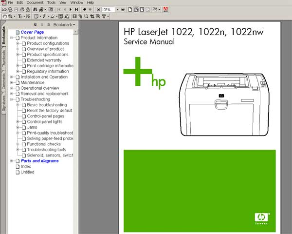 HP LaserJet 1022, 1022N printers <br> Service Manual, Parts and Diagrams