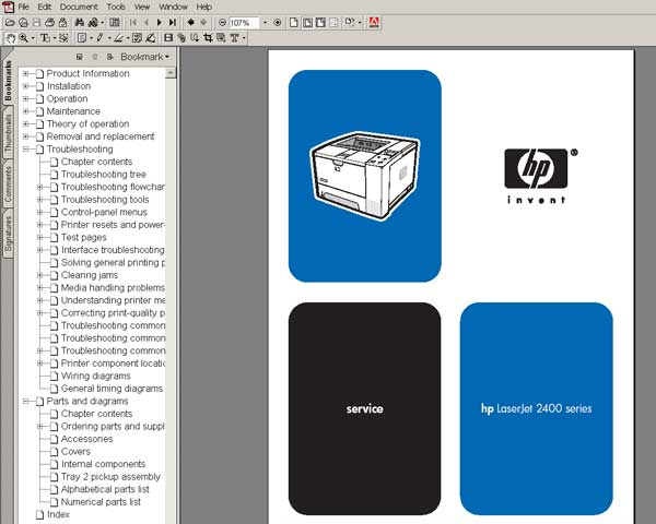 HP LaserJet 2400 Series <br> Service Manual, Parts and Diagrams