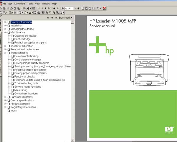 HP LaserJet M1005 MFP<br> Service Manual