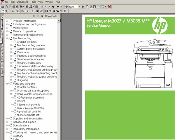 HP LaserJet M3027, M3035 Multifunction <br> Service Manual, Parts and Diagrams