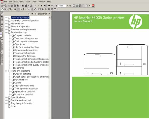 HP LaserJet P3005 printers Service Manual, Parts and Diagrams