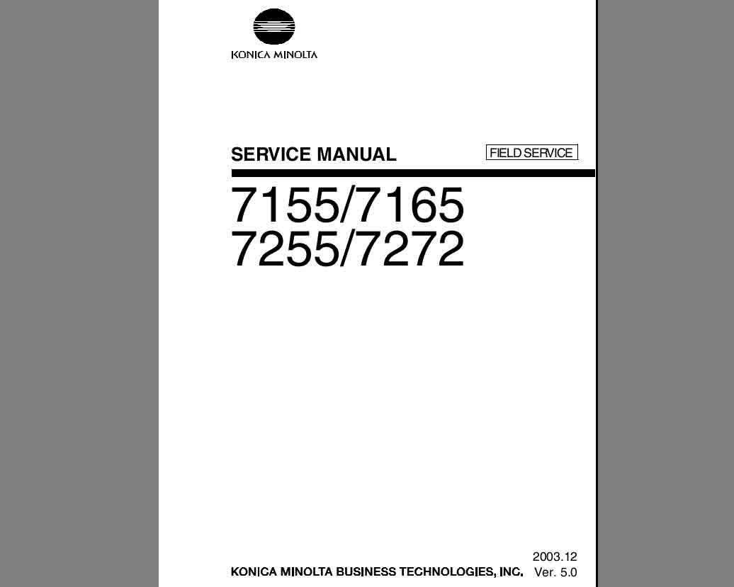 Konica Minolta 7155, 7165, 7255, 7272 Field Service Manual