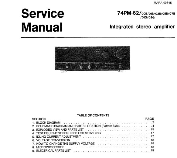 Marantz 74PM-62 Digital Amplifier Service Manual, Schematic Diagram and Exploded View