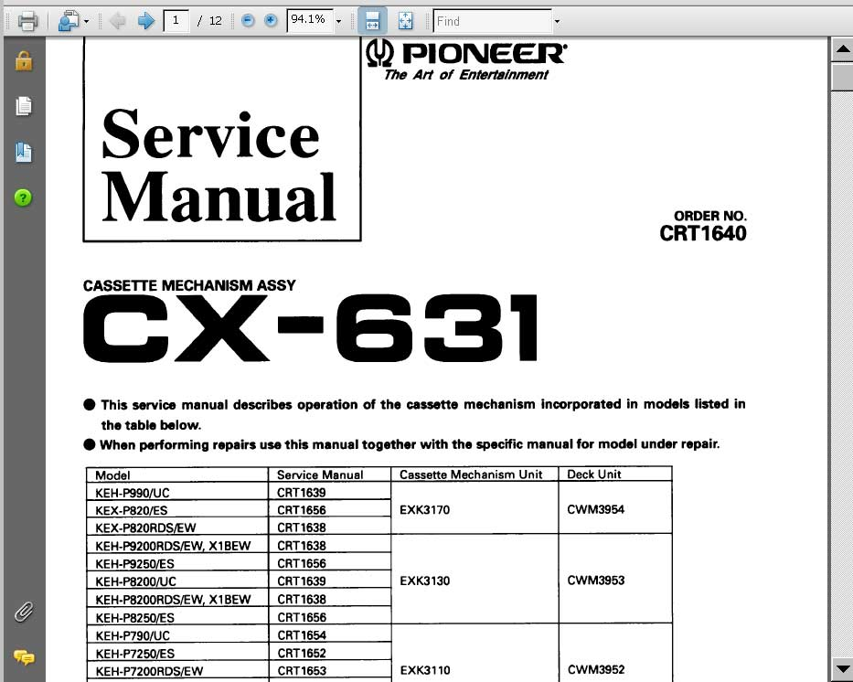 Pioneer CX-631 cassette mechanism assy CRT1640 Service Manual for KEH-P525, KEH-P5700, KEH-P5750 players<font color=red>New!</font>
