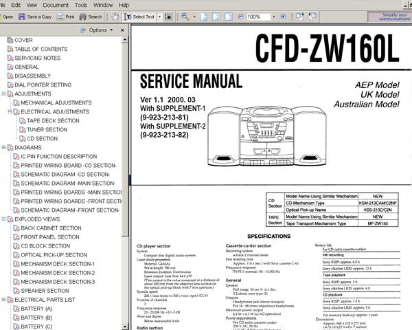 Sony CFD-ZW160L player <br>Service Manual, Circuit Diagram and Parts Replacement List  <br> <font color=red>New!</font>
