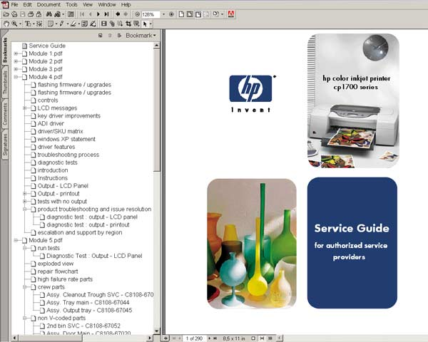 HP Color InkJet CP1700 Service Manual