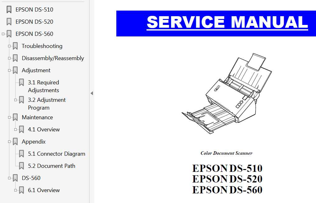Epson DS-510, DS-520, DS-560 Scaner Service Manual
