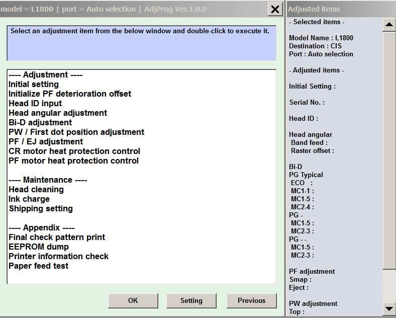 Epson L1800 (EURO, CIS) Ver 1 0 0 Service Program New