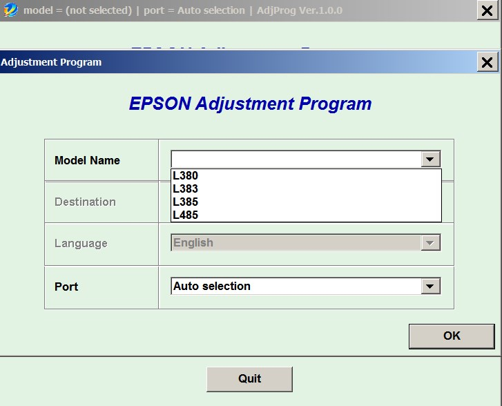 License for 1 PC for Epson <b>L380, L383, L385, L485</b> Adjustment Program Full Reset Version